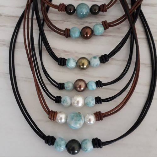 Larimar & Pearl Leather Necklaces