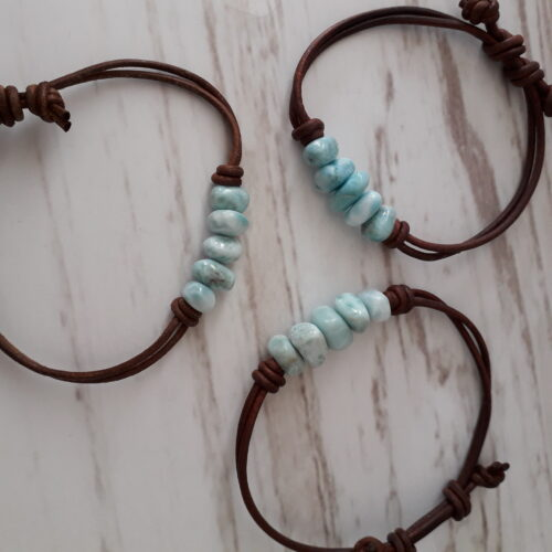 Larimar Stones Leather Bracelet