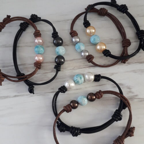 Larimar and Pearl Leather Bracelets